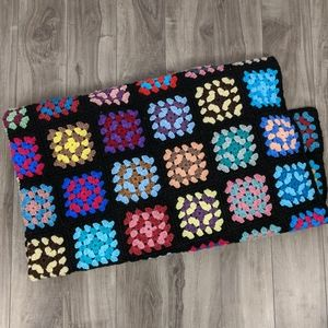 Other - Granny Square Black and Colourful Blanket